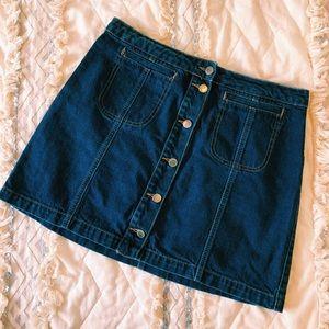 Denim button front skirt